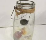 Kynttilälyhty / purkki, pohjassa simpukkoita, 4 kpl