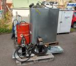 Öljybaari,/järjestelmä, Nedermann öljykela + mittari 2 kpl, jäteöljysäiliö valuma-altaalla, öljy pumppu
